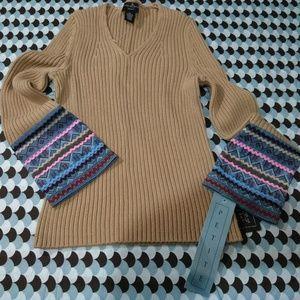 Mercer & Madison V-Neck Boho Long Sleeve Sweater